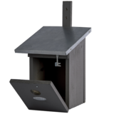 Grijze nestkast voor de koolmees kopen, NK40G Grijs vogelhuisje open deur| Moestuinland
