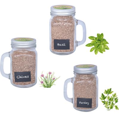 Kweekset kruiden, Mok met zaden + vermiculiet