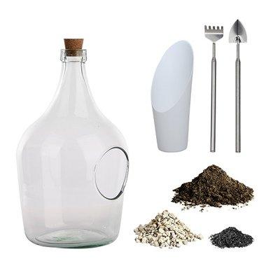 Open plant terrarium, Fles compleet set (3 liter)