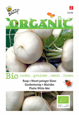 Meiraap Zaden, Platte witte tuinraap (Rapen) | BIO