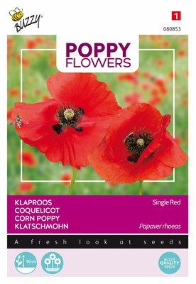 Klaproos Zaden, Papaver rhoeas (Single Red)
