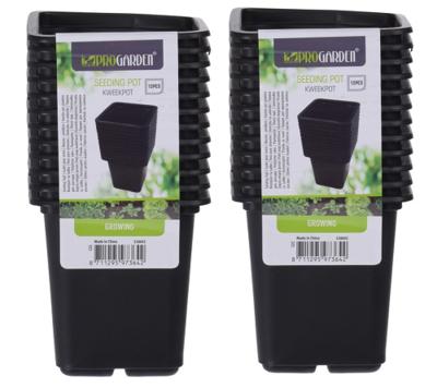 Plastic potjes, vierkant zwart 24st. (7x7x8cm)