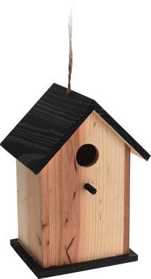 Vogelhuisje hout, blank/zwart