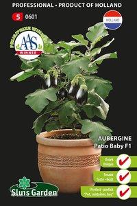 patio aubergine zaden kopen, baby f1 - moestuinland