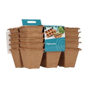 Biologisch afbreekbare kweekpotjes kopen, 6 x 6 centimeter (24 stuks) | Moestuinland
