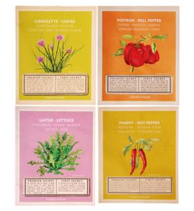 set van 4 zaden met steeketiketten bij moestuinland