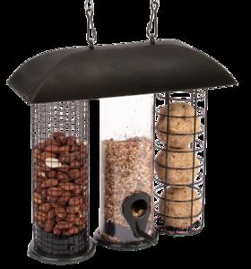 3 in 1 vogelvoedersilo voor vetbollen pinda's en strooivoer kopen bij moestuinland