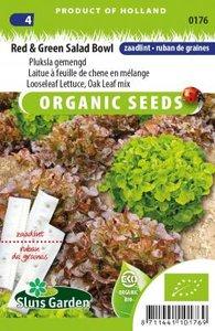 Biologische sla zaden. Zaadlint (zaailint. Gemengde sla, rood en groen   Moestuinland