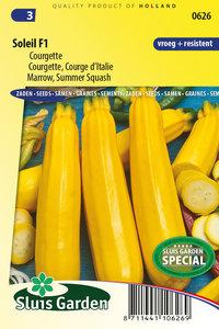 gele courgette zaden kopen, soleil f1 - moestuinland